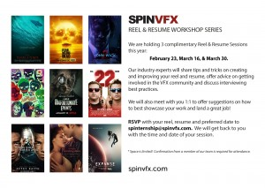 SPINVFX is holding a reel and resume workshop